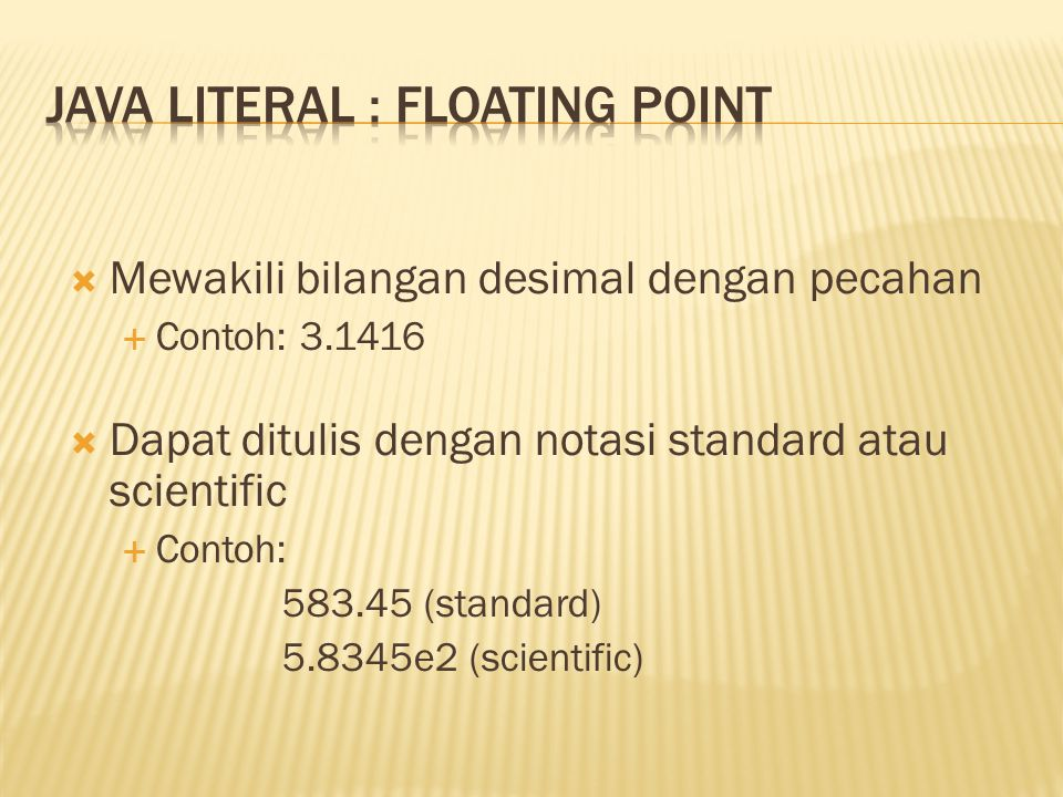 Java literal : floating point