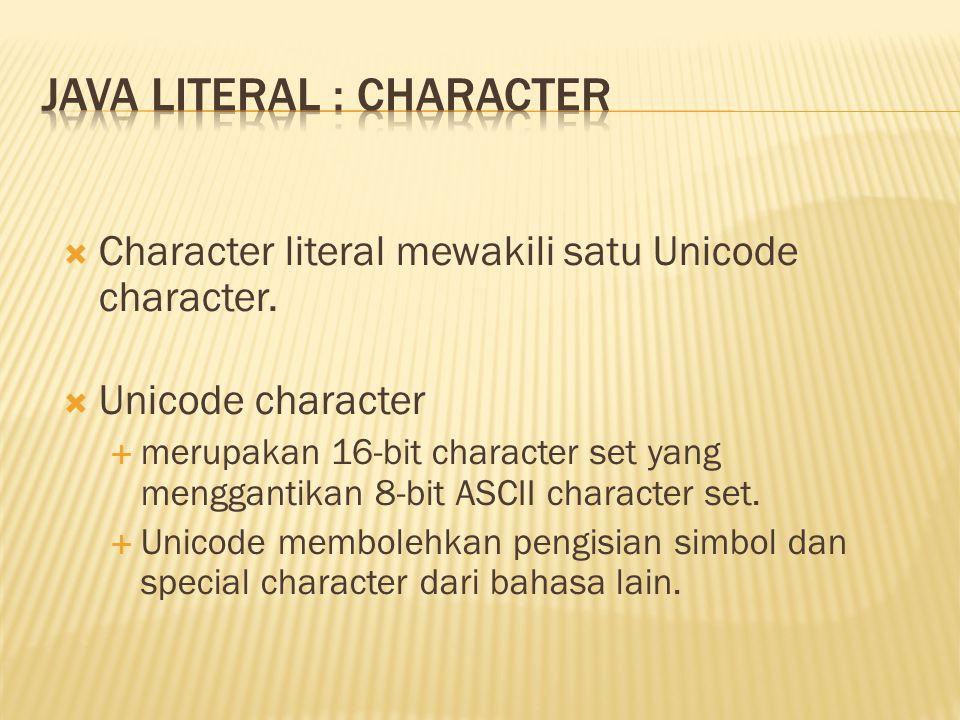 Java literal : character
