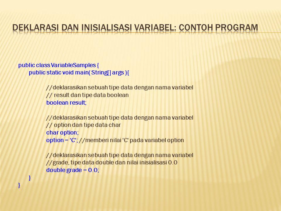 Deklarasi dan Inisialisasi Variabel: Contoh Program
