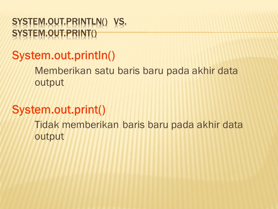 System.out.println() vs. System.out.print()