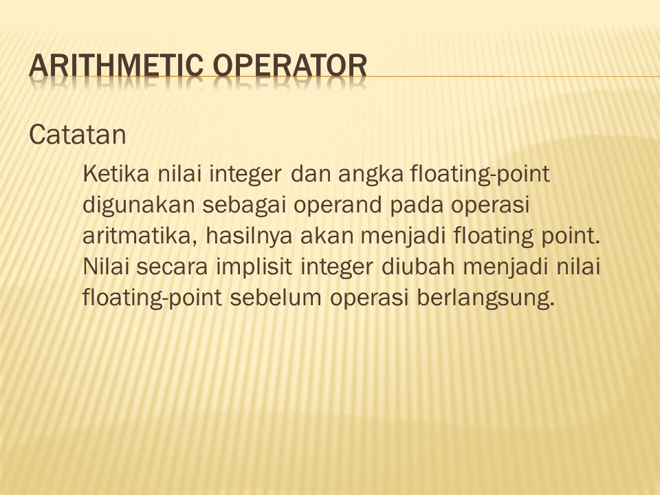 Arithmetic Operator Catatan