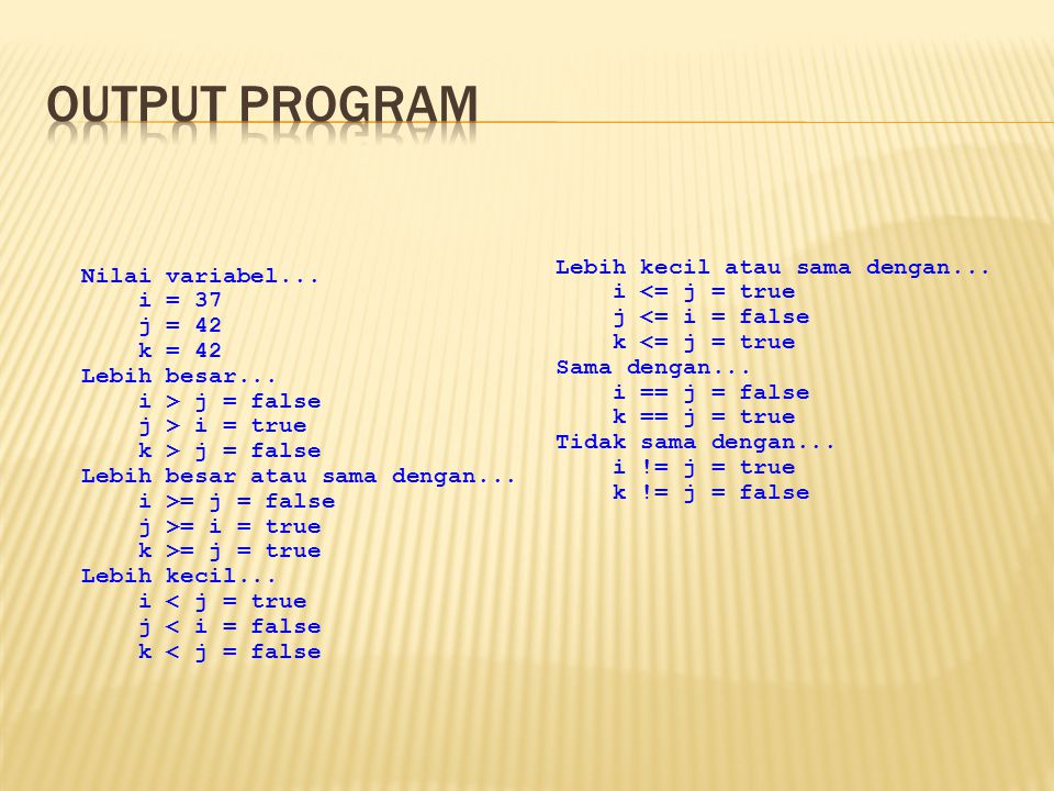 Output program Lebih kecil atau sama dengan... Nilai variabel...