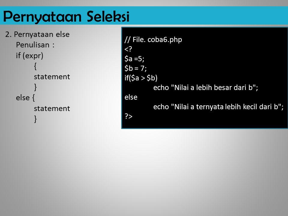 Pernyataan Seleksi // File. coba6.php. < $a =5; $b = 7; if($a > $b) echo Nilai a lebih besar dari b ;