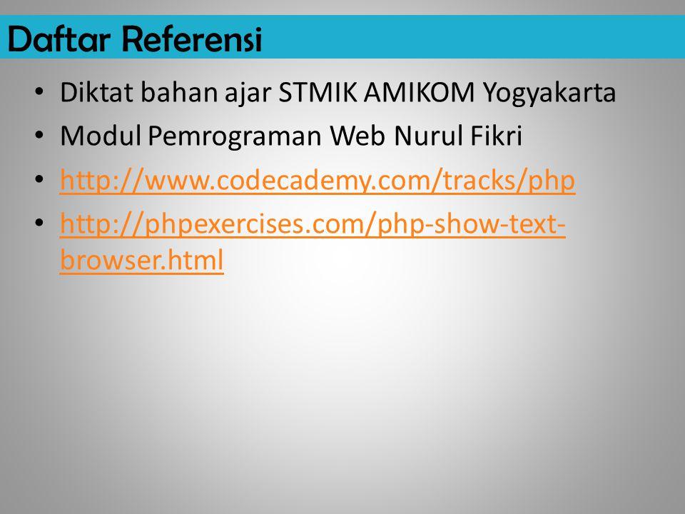 Daftar Referensi Diktat bahan ajar STMIK AMIKOM Yogyakarta