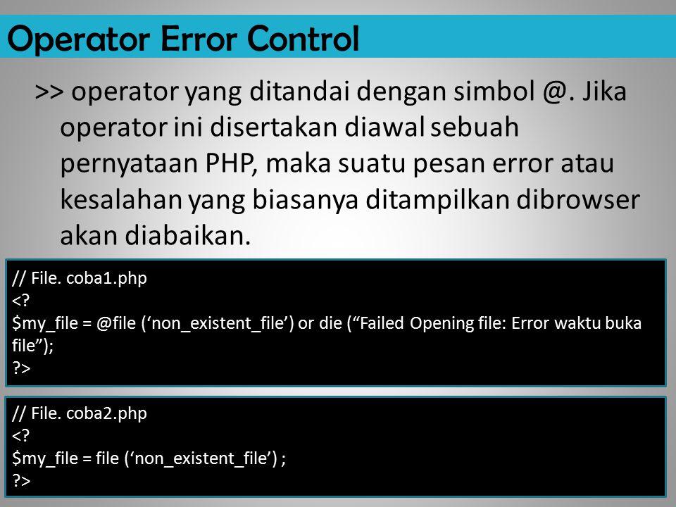 Operator Error Control