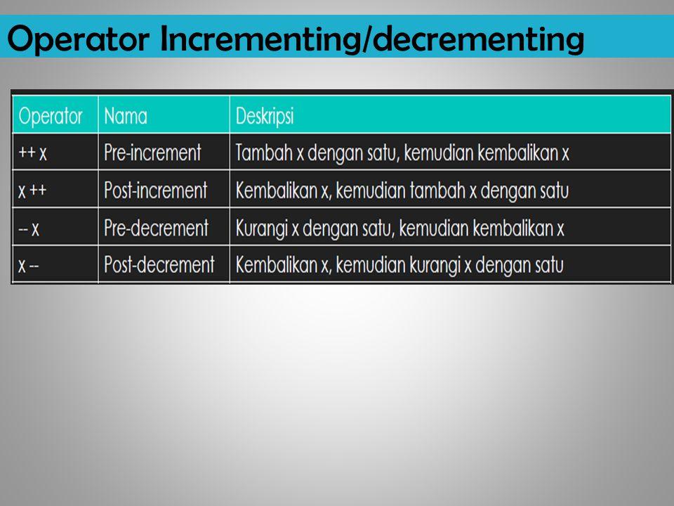 Operator Incrementing/decrementing
