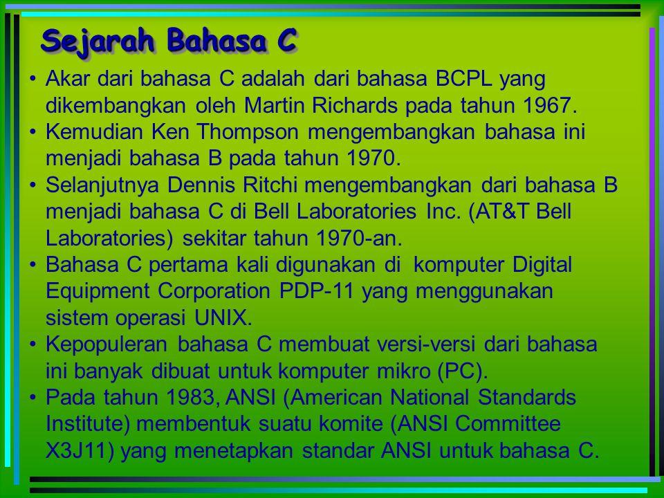 Sejarah Bahasa C Akar dari bahasa C adalah dari bahasa BCPL yang dikembangkan oleh Martin Richards pada tahun 1967.