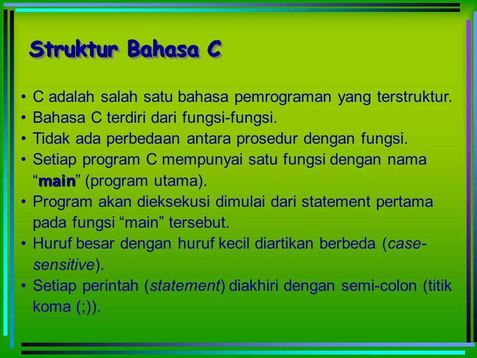 Struktur Bahasa C C adalah salah satu bahasa pemrograman yang terstruktur. Bahasa C terdiri dari fungsi-fungsi.
