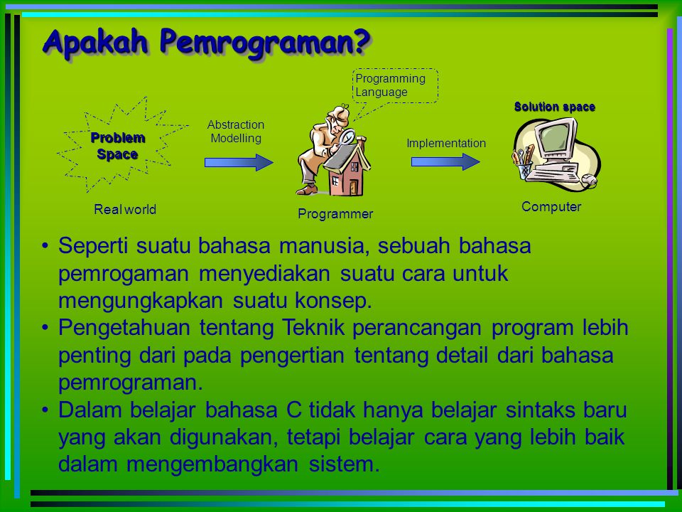 Apakah Pemrograman Programming. Language. Programmer. Real world. Problem. Space. Computer. Solution space.