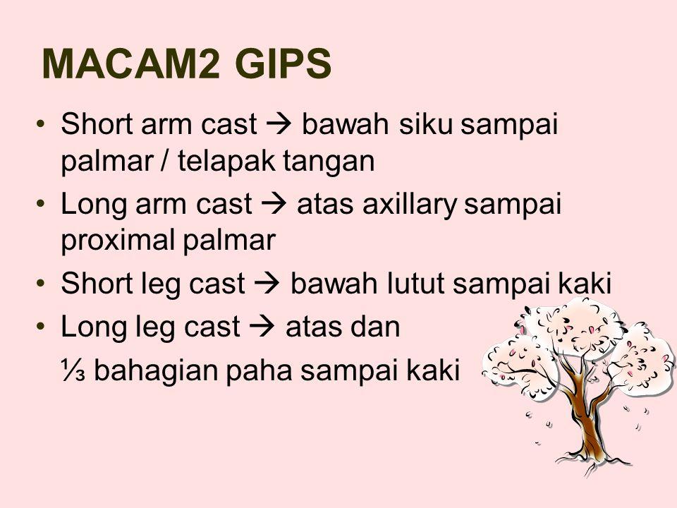 MACAM2 GIPS Short arm cast  bawah siku sampai palmar / telapak tangan
