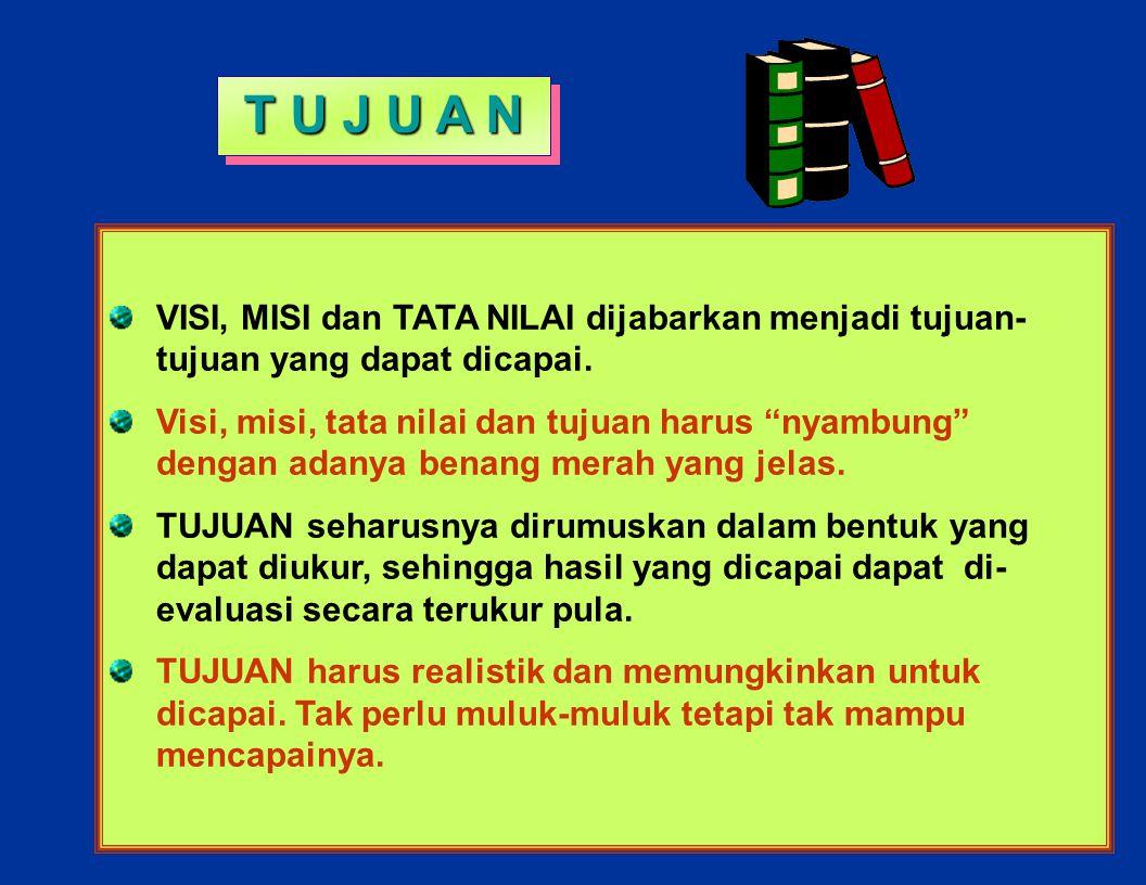 T U J U A N VISI, MISI dan TATA NILAI dijabarkan menjadi tujuan- tujuan yang dapat dicapai.