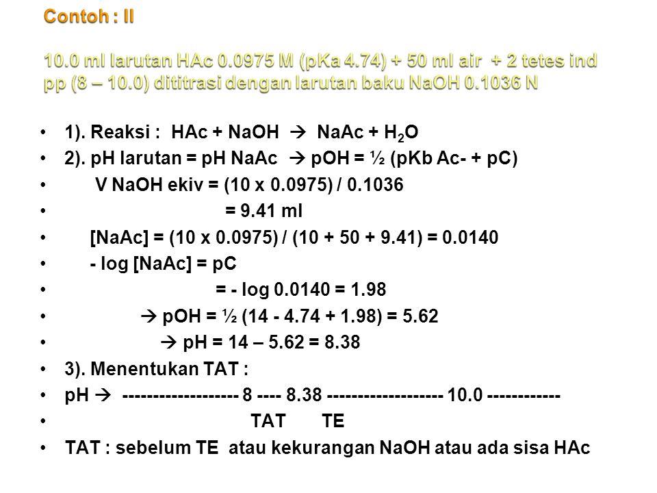 Contoh : II 10. 0 ml larutan HAc 0. 0975 M (pKa 4