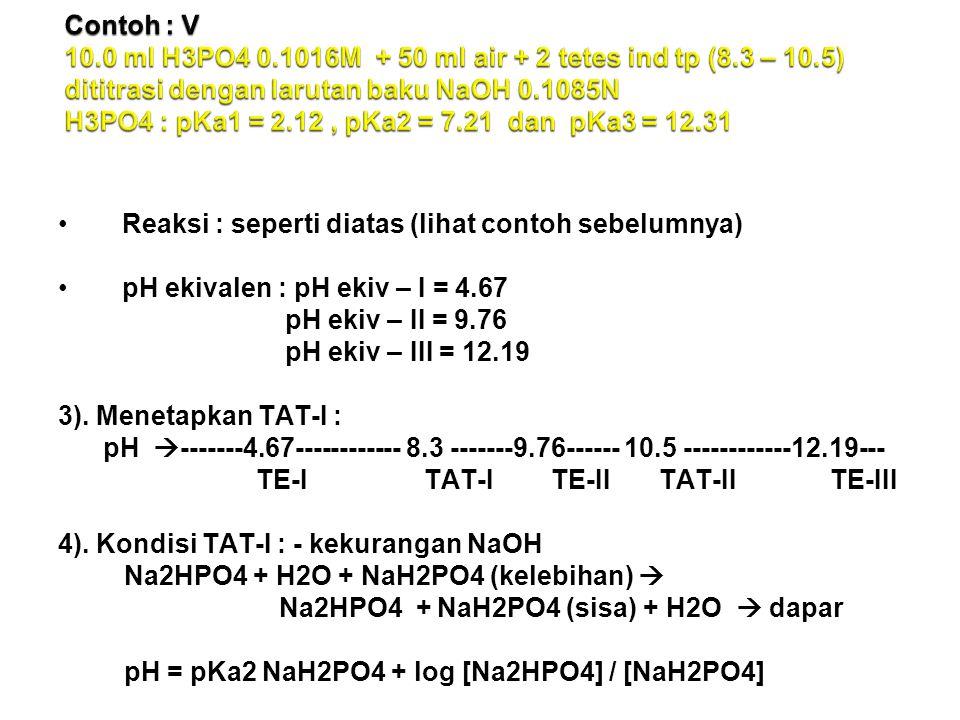 Contoh : V 10. 0 ml H3PO4 0. 1016M + 50 ml air + 2 tetes ind tp (8