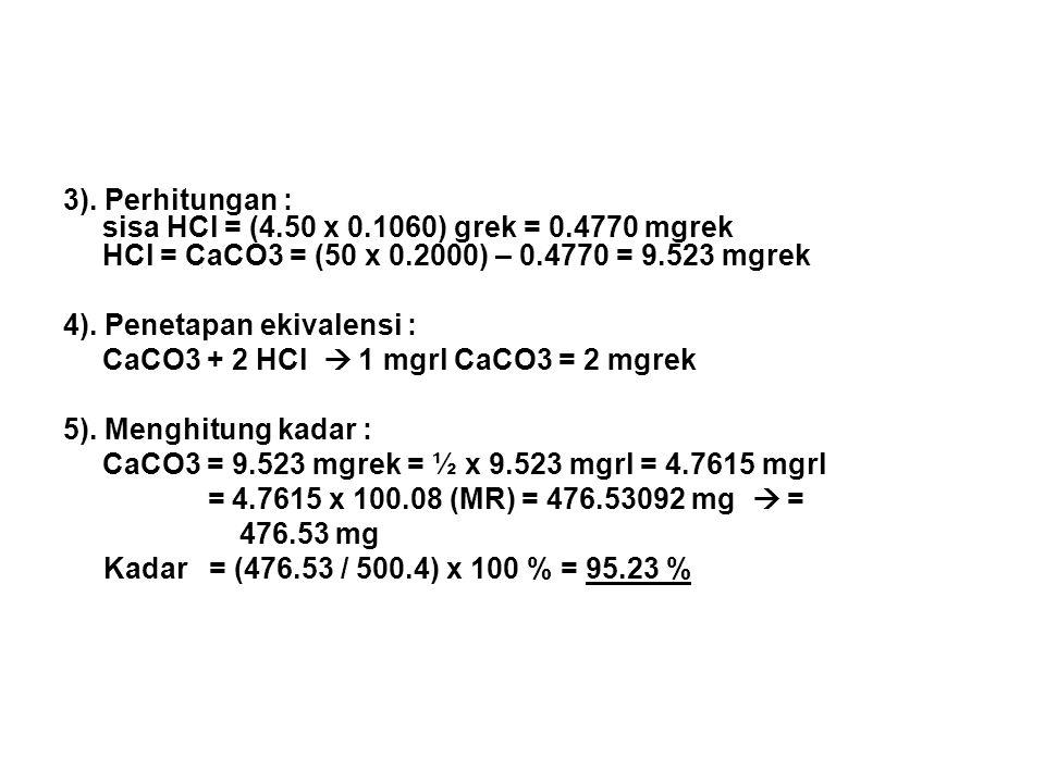 3). Perhitungan : sisa HCl = (4. 50 x 0. 1060) grek = 0