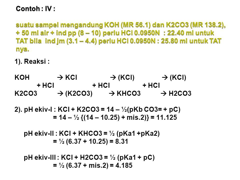 Contoh : IV : suatu sampel mengandung KOH (MR 56. 1) dan K2CO3 (MR 138