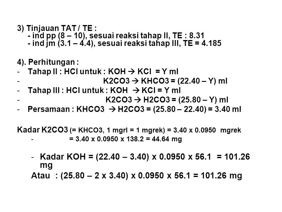 3) Tinjauan TAT / TE : - ind pp (8 – 10), sesuai reaksi tahap II, TE : 8.31 - ind jm (3.1 – 4.4), sesuai reaksi tahap III, TE = 4.185