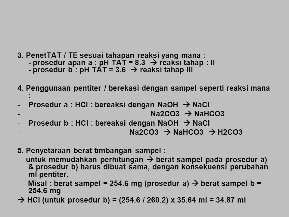 3. PenetTAT / TE sesuai tahapan reaksi yang mana : - prosedur apan a : pH TAT = 8.3  reaksi tahap : II - prosedur b : pH TAT = 3.6  reaksi tahap III