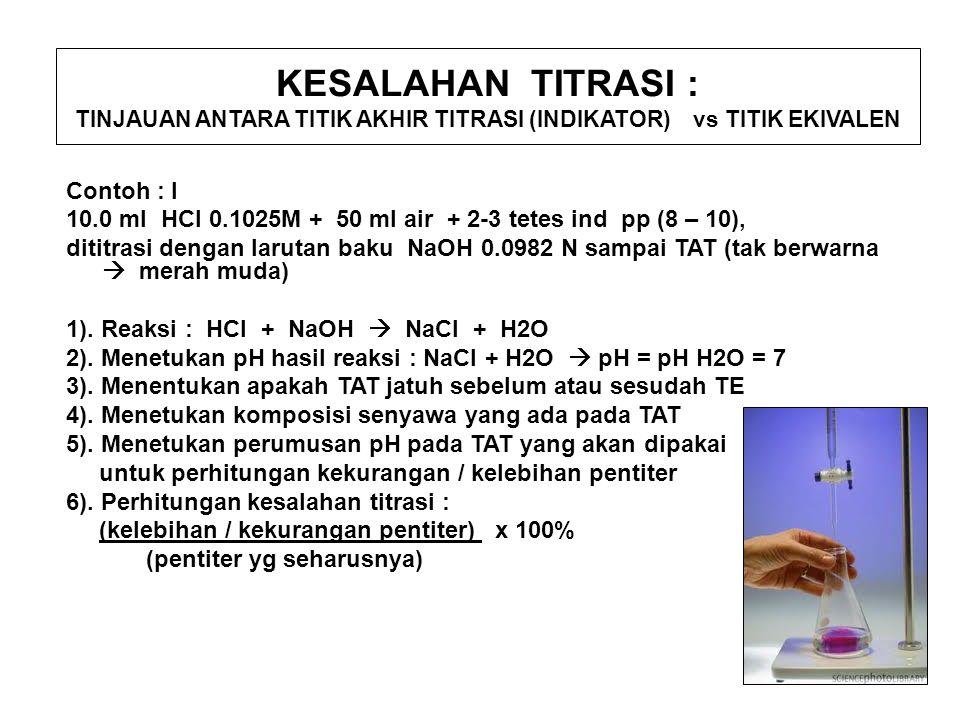 KESALAHAN TITRASI : TINJAUAN ANTARA TITIK AKHIR TITRASI (INDIKATOR) vs TITIK EKIVALEN