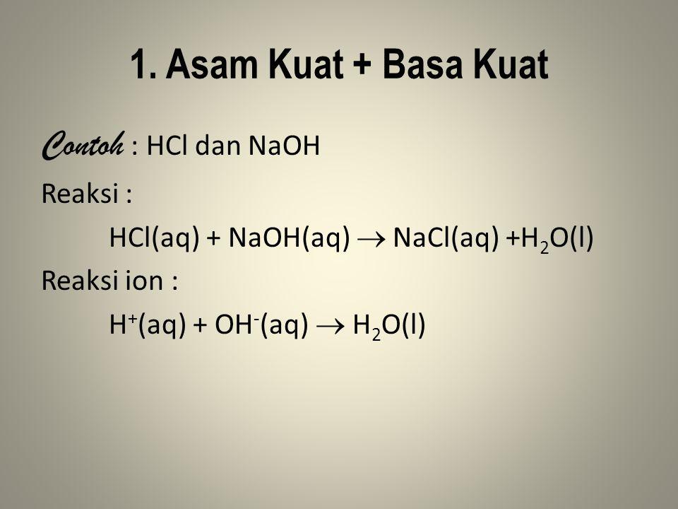 1. Asam Kuat + Basa Kuat Contoh : HCl dan NaOH Reaksi :