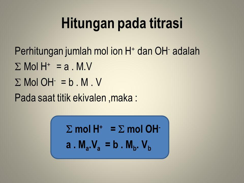 Hitungan pada titrasi Perhitungan jumlah mol ion H+ dan OH- adalah