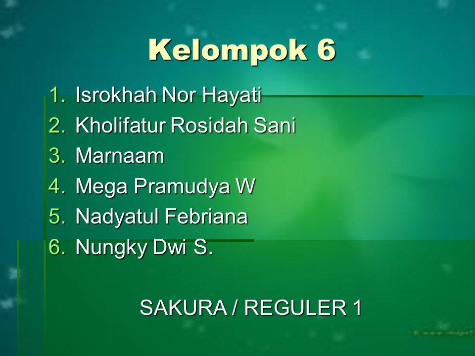 Kelompok 6 Isrokhah Nor Hayati Kholifatur Rosidah Sani Marnaam