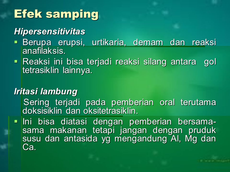 Efek samping Hipersensitivitas