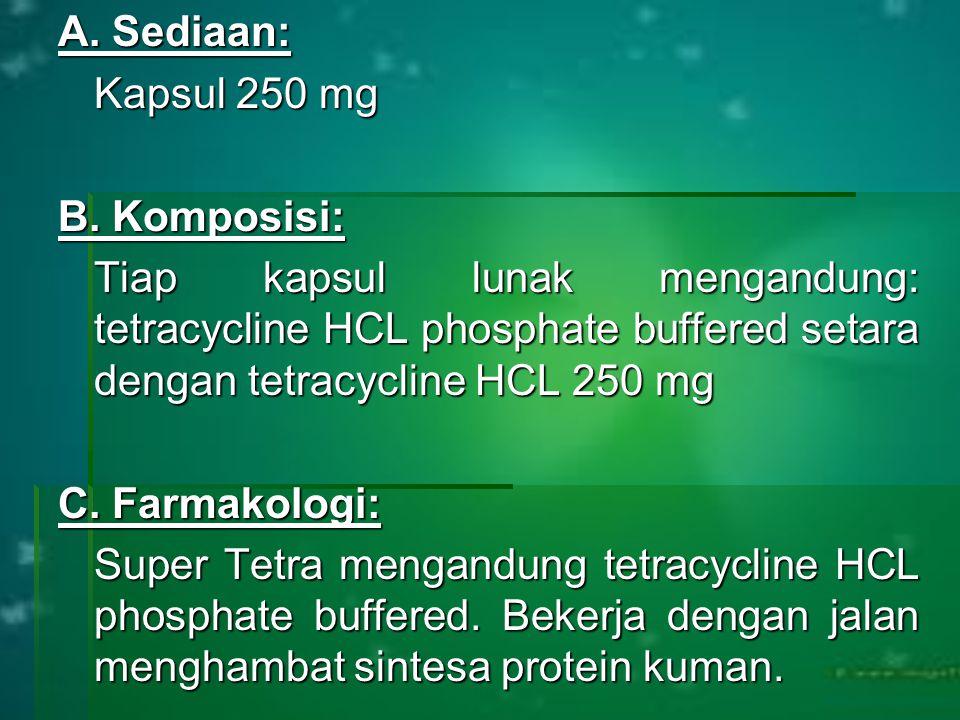 A. Sediaan: Kapsul 250 mg B.
