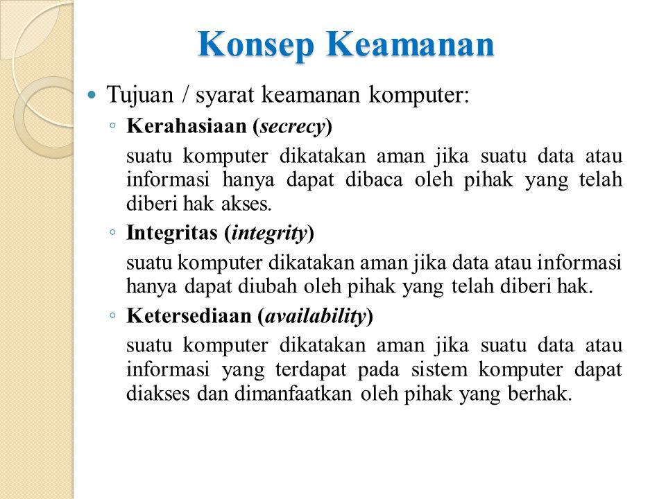Konsep Keamanan Tujuan / syarat keamanan komputer: