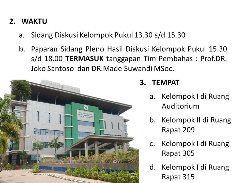 WAKTU Sidang Diskusi Kelompok Pukul 13.30 s/d 15.30.