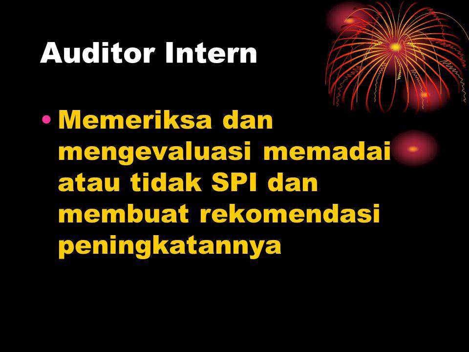Auditor Intern Memeriksa dan mengevaluasi memadai atau tidak SPI dan membuat rekomendasi peningkatannya.