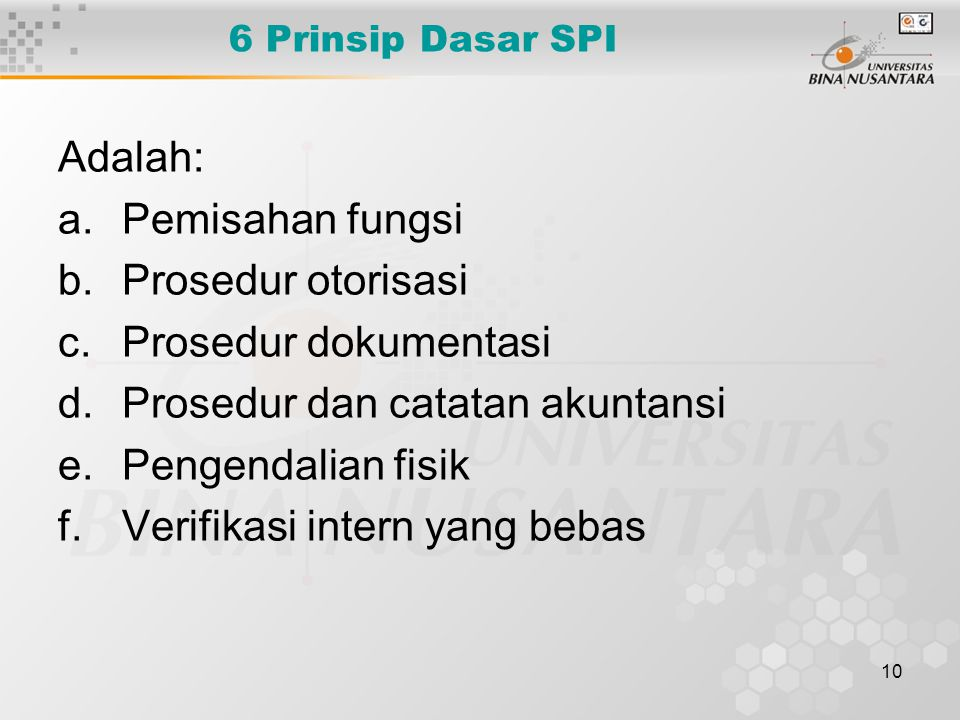 Prosedur dan catatan akuntansi Pengendalian fisik