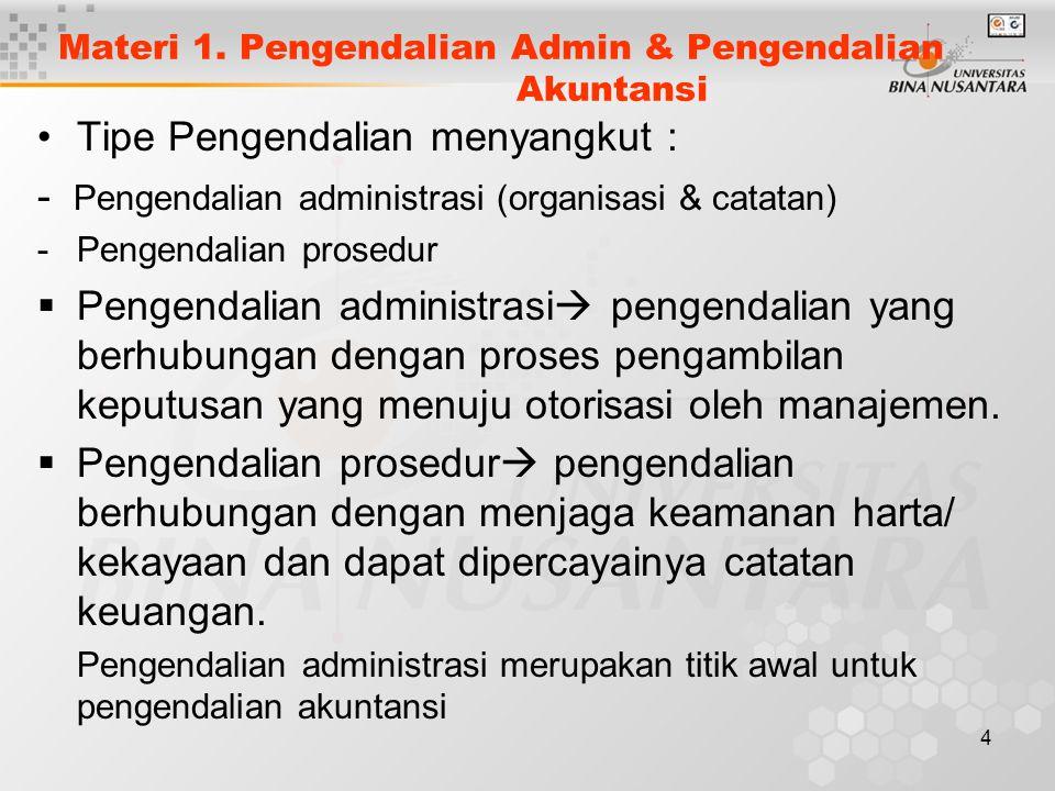 Materi 1. Pengendalian Admin & Pengendalian Akuntansi
