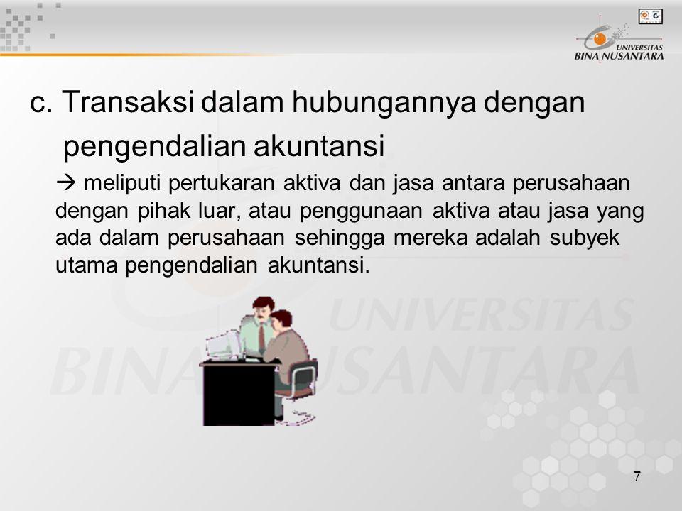 c. Transaksi dalam hubungannya dengan pengendalian akuntansi