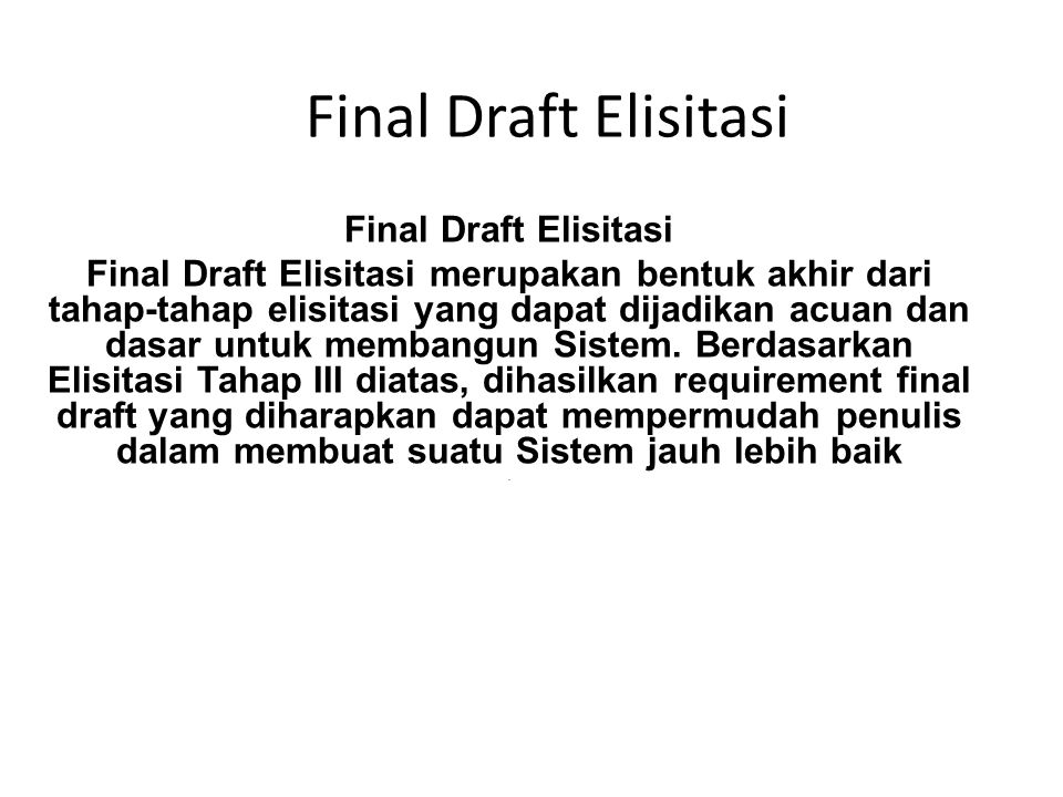 Final Draft Elisitasi Final Draft Elisitasi