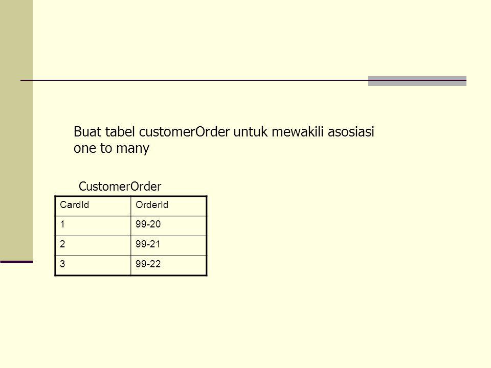 Buat tabel customerOrder untuk mewakili asosiasi one to many