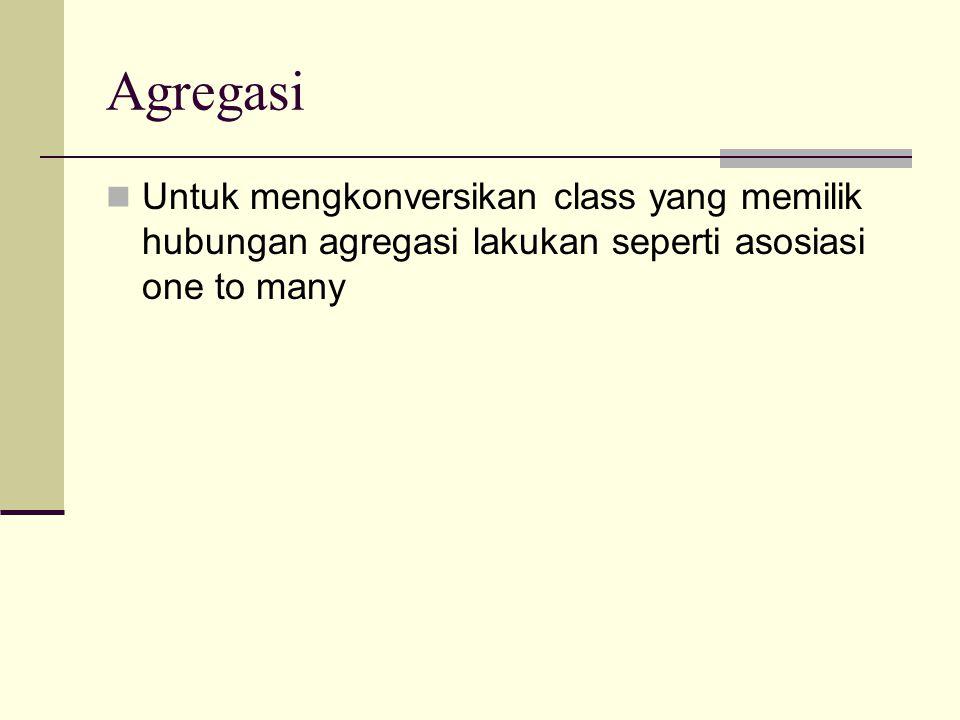 Agregasi Untuk mengkonversikan class yang memilik hubungan agregasi lakukan seperti asosiasi one to many.