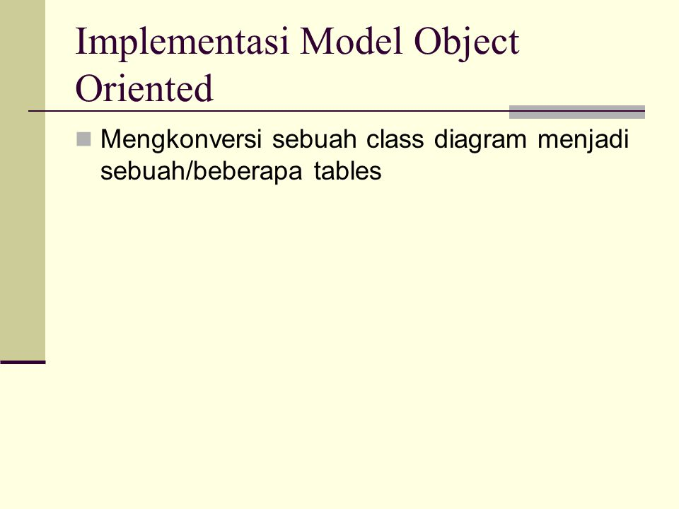 Implementasi Model Object Oriented