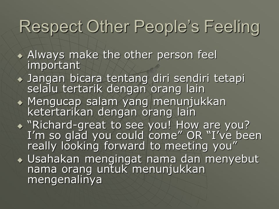 Respect Other People's Feeling