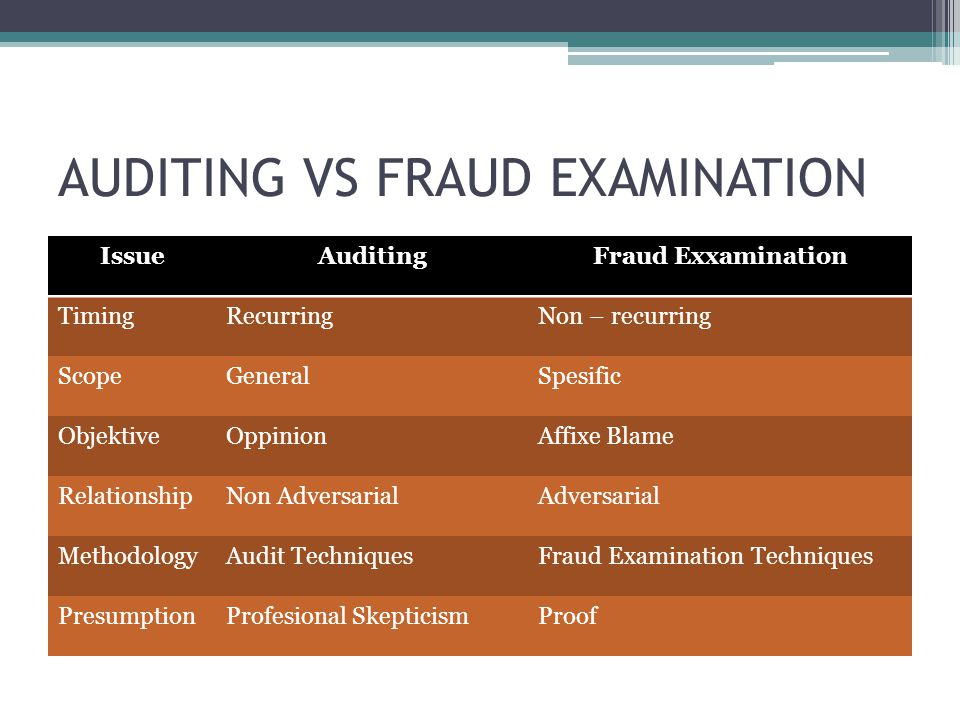 AUDITING VS FRAUD EXAMINATION