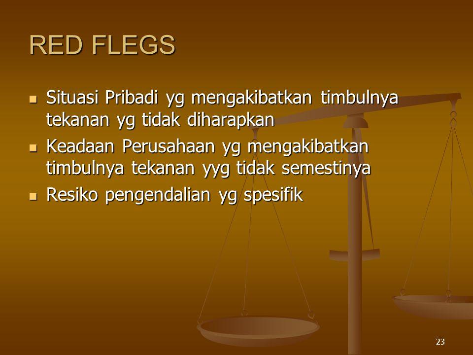 RED FLEGS Situasi Pribadi yg mengakibatkan timbulnya tekanan yg tidak diharapkan.