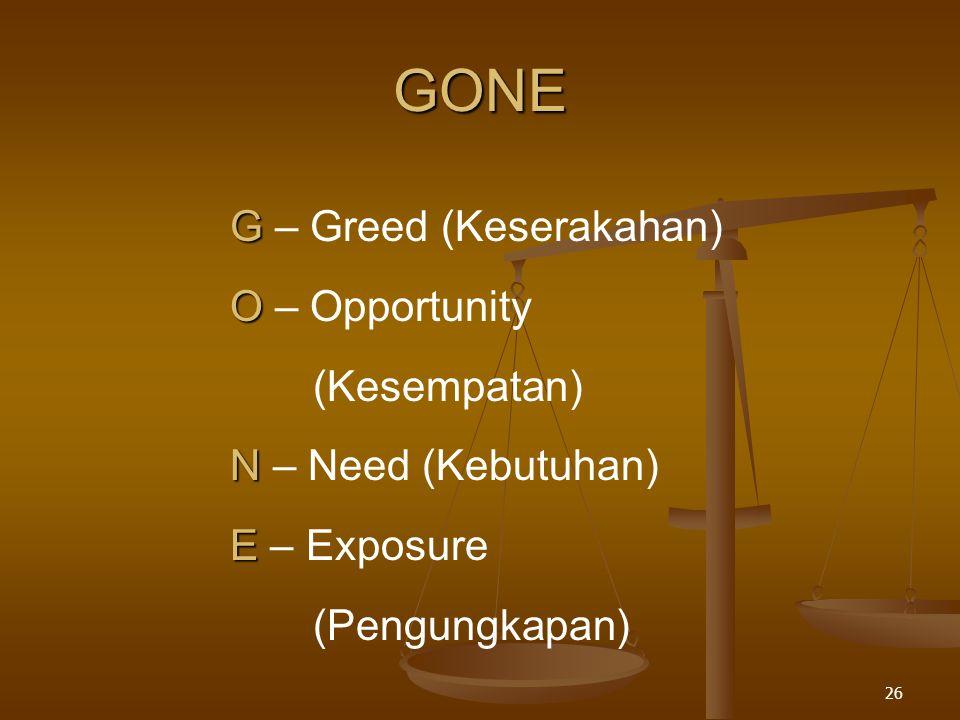 GONE G – Greed (Keserakahan) O – Opportunity (Kesempatan)