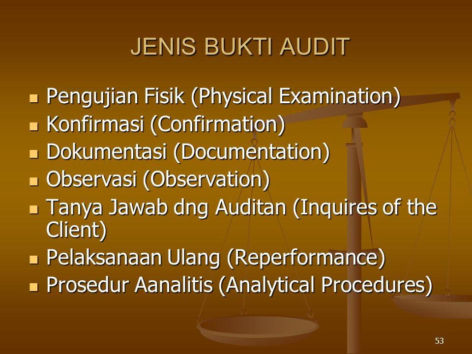 JENIS BUKTI AUDIT Pengujian Fisik (Physical Examination)