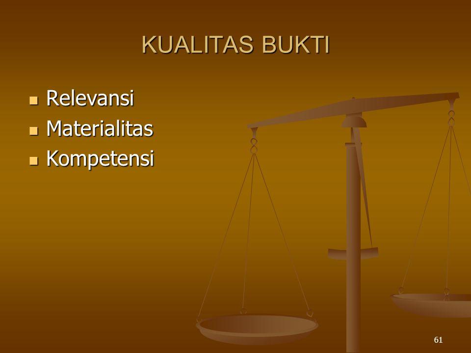 KUALITAS BUKTI Relevansi Materialitas Kompetensi