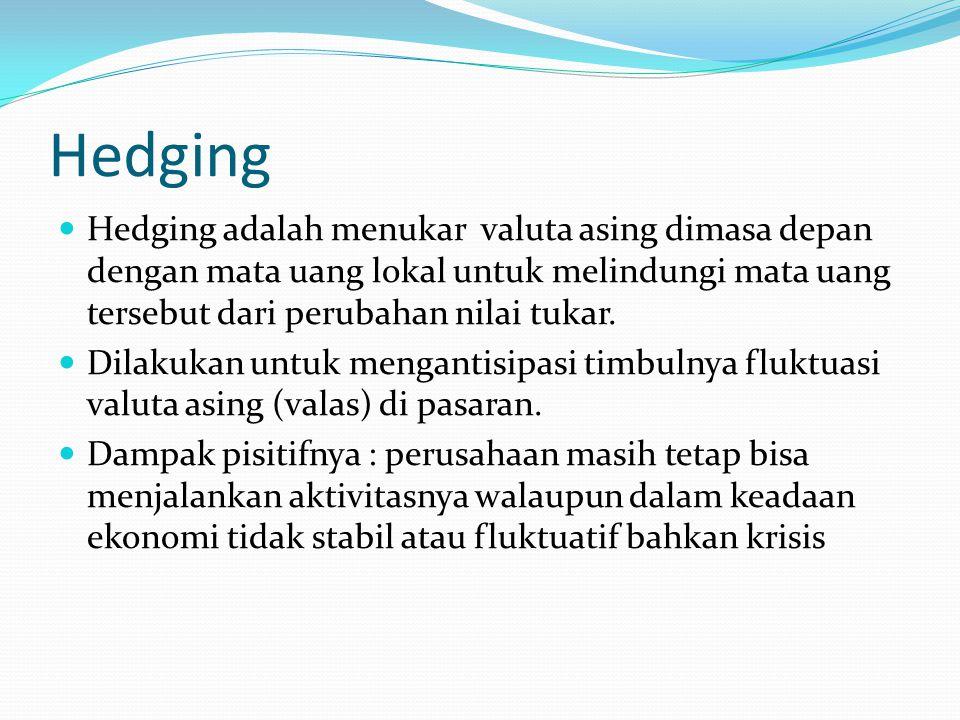 Hedging Hedging adalah menukar valuta asing dimasa depan dengan mata uang lokal untuk melindungi mata uang tersebut dari perubahan nilai tukar.