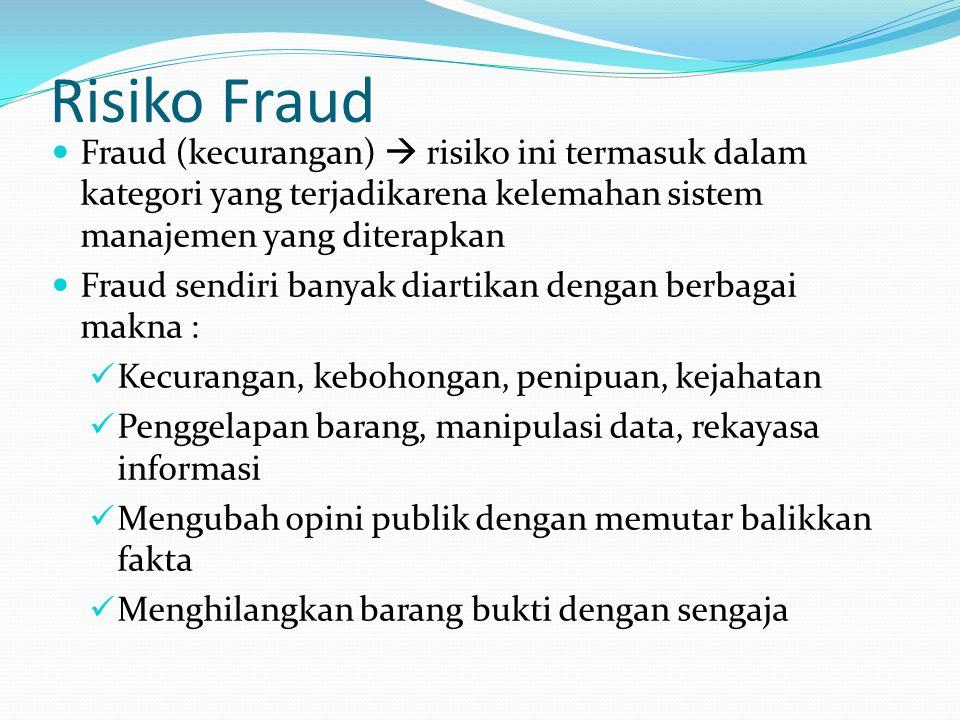 Risiko Fraud Fraud (kecurangan)  risiko ini termasuk dalam kategori yang terjadikarena kelemahan sistem manajemen yang diterapkan.
