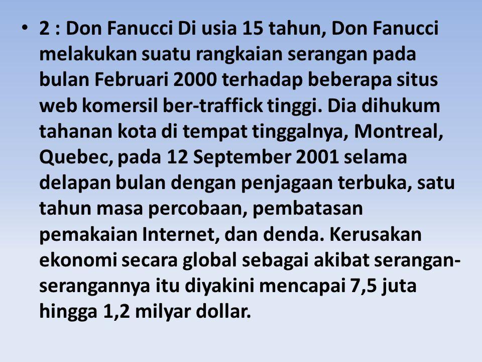 2 : Don Fanucci Di usia 15 tahun, Don Fanucci melakukan suatu rangkaian serangan pada bulan Februari 2000 terhadap beberapa situs web komersil ber-traffick tinggi.