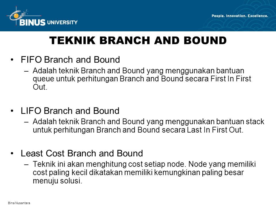 TEKNIK BRANCH AND BOUND