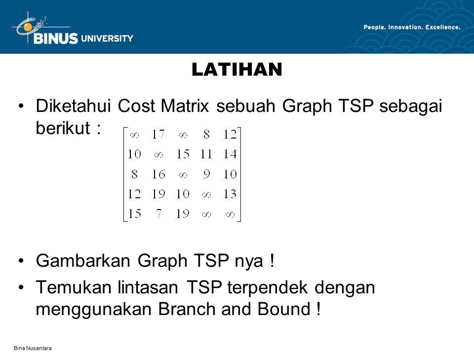 Diketahui Cost Matrix sebuah Graph TSP sebagai berikut :