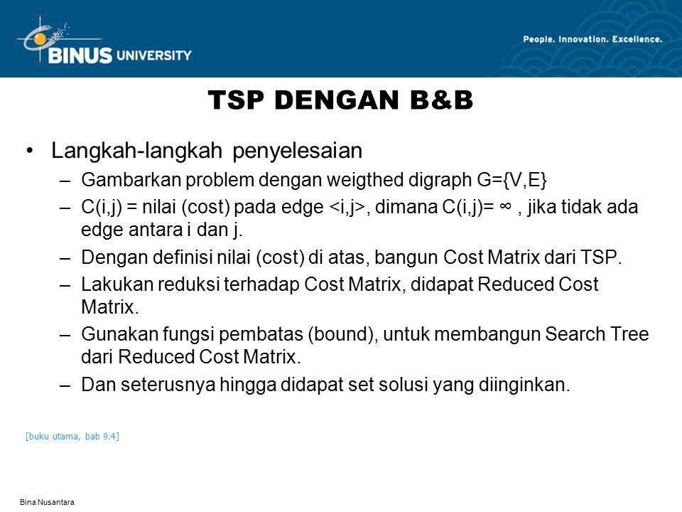 TSP DENGAN B&B Langkah-langkah penyelesaian
