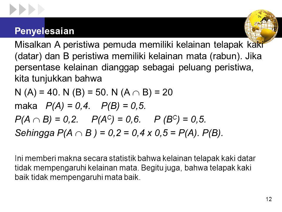 Sehingga P(A  B ) = 0,2 = 0,4 x 0,5 = P(A). P(B).